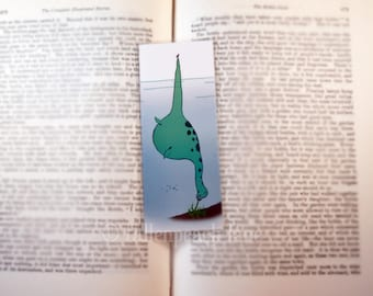 Nessi at Lunch Bookmark - Original, Laminated, Loch Ness Monster Illustration