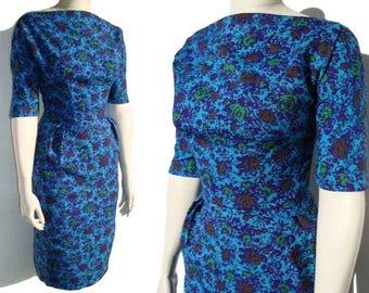 Vintage 60s Dress Blue Floral Wiggle Sheath Dress M