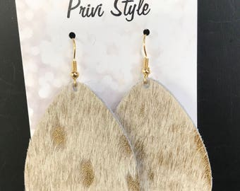 White Hair on with Gold Leafing, Leather, Teardrop Earring
