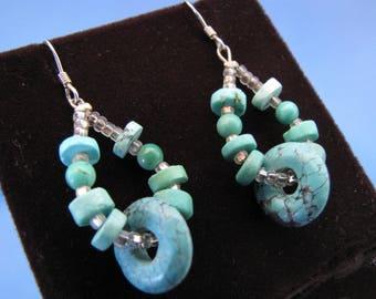 Vintage Sterling Silver Turquoise Torus Doughnut & Disk Dangle French Hook Earrings