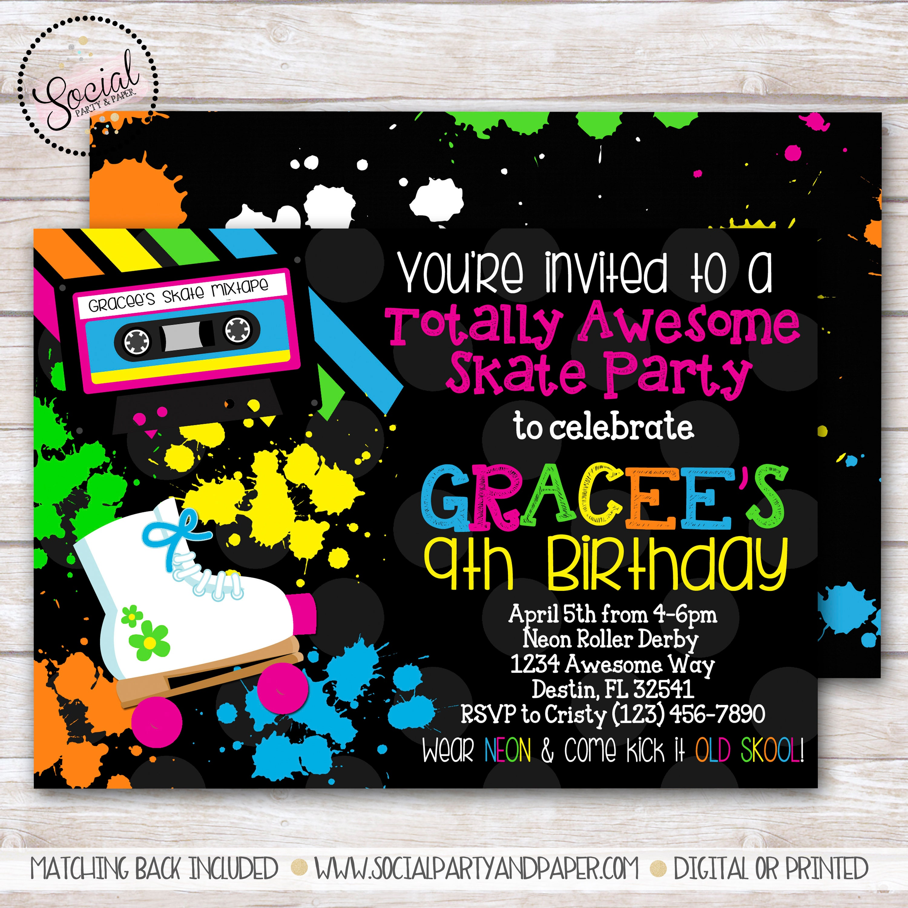 Neon Retro Totally Awesome Skate Party Birthday Invitation