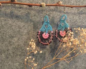 Ria Earrings in Blue and Pink