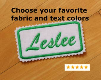 Custom Felt Iron-on Name patch, 4x2 inches, Jagged edging, name label,  Personalised name tag, embroidered Christmas Stocking Patch,F5