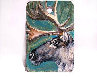 "Caribou Art -  Reindeer Art - Woodland Animal Art - Original Miniature Painting - Kids Room Wall Decor - Stocking Stuffer - 2""x3"" mini art"
