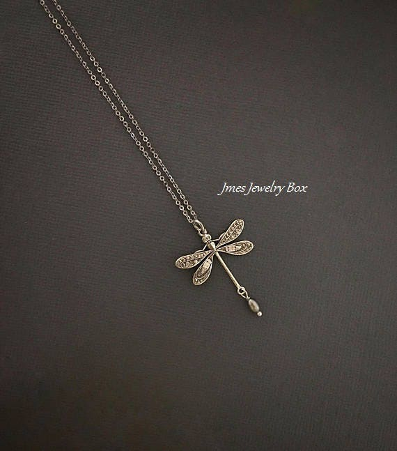 Silver dragonfly necklace with little grey pearl Dragonfly