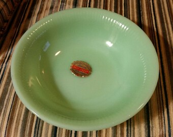 Anchor Hocking Fire King Jade-ite cereal bowl with sticker