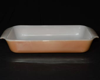 Vintage, FIRE KING, Peach luster, Casserole Dish, Glass, 1.5-quart Casserole, Baking Dish, 1950s, Anchor Hocking, Peach lustre, rectangular