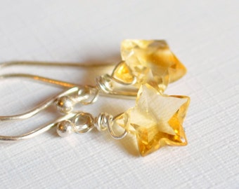 Real Citrine Earrings, Stars, Gold or Sterling Silver Jewelry, November Birthstone, Simple Dainty and Delicate, Made to Order, Free Shipping