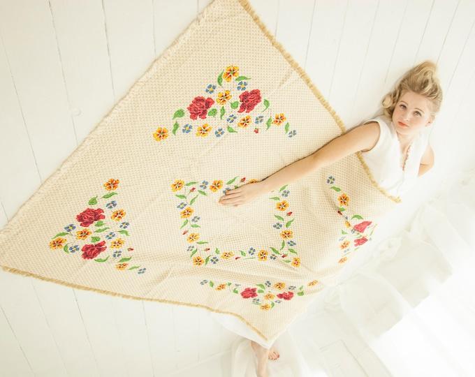 Vintage white floral tablecloth, large red roses, ivory cream cotton fringe rectangular woven 1970s boho home decor