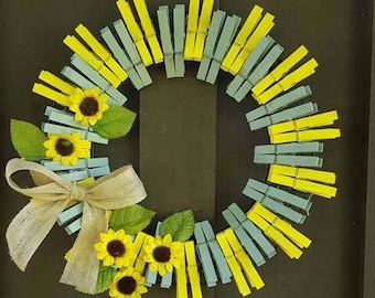 Sunflowers Clothes Pin Wreath
