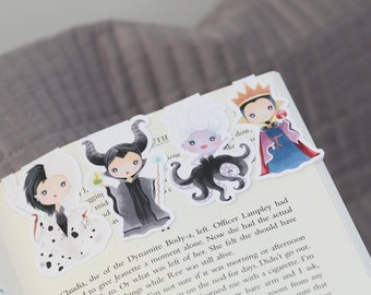 Disney Inspired Villains bookmarks / Magnetic bookmark / Double Sided / Villain Characters