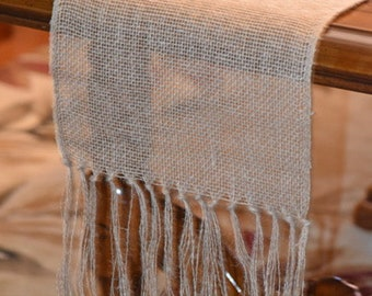 Lovely and Versatile Burlap, Open Weave, Knotted and Fringed Table Runner