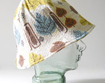 Sun Hat Handmade from Vintage Fabric • Cotton Leaves Aqua Summer Hat • Bell Hat Bucket Hat