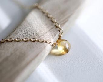 Genuine Citrine Necklace Birthstone Necklace Minimal Layered November Birthstone Necklace Dainty Silver or Gold New Mom Birthday Gift