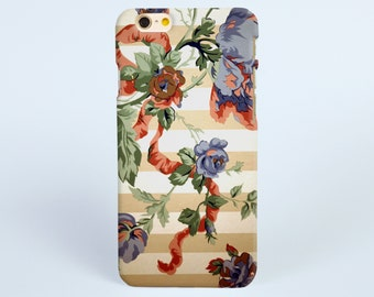 iPhone 8 case, iPhone X case, iPhone 7 plus case, iPhone 6s case tough case samsung galaxy s8 case,  Flowers Floral beige Strips