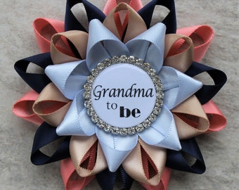Navy and Coral Baby Shower Pins, Coral and Navy Baby Shower Decorations, Grandma to Be Pin, Mom to Be Pin, Coral, Navy Blue, Tan, Ice Blue