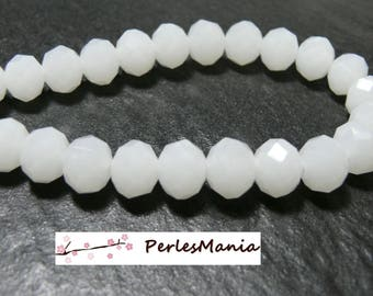 1 strand of approximately 70 beads 8x10mm 2J1531 milky white glass rondelles faceted