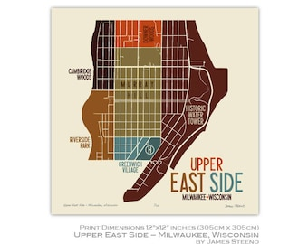 Upper East Side, Milwaukee, Wisconsin Neighborhood Art Map Print by James Steeno (Murray Hill, Historic Water Tower, Riverside Park)