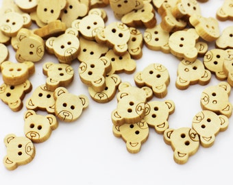 Bear Wood Button, Children Button, Baby Button, Small Wooden Buttons, Two Holes Sew Through Button, Animal Button, Blouse Button,13mm
