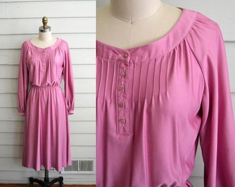1970s long sleeve pink fit and flare dress / Medium to Large vintage formal or party dress / shiny disco dress with pleats