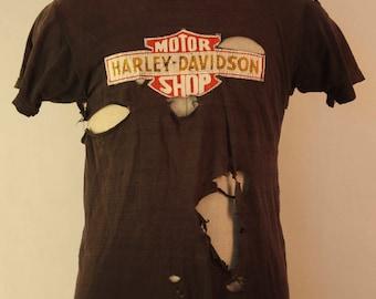 1980's Harley Davidson tattered vintage shirt