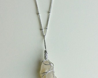 River Rock Pendant, Clear Quartz Necklace, Crystal Necklace, River Rock Necklace, Handmade Jewelry, Raw Stone Jewelry, Gift, Boho Necklace