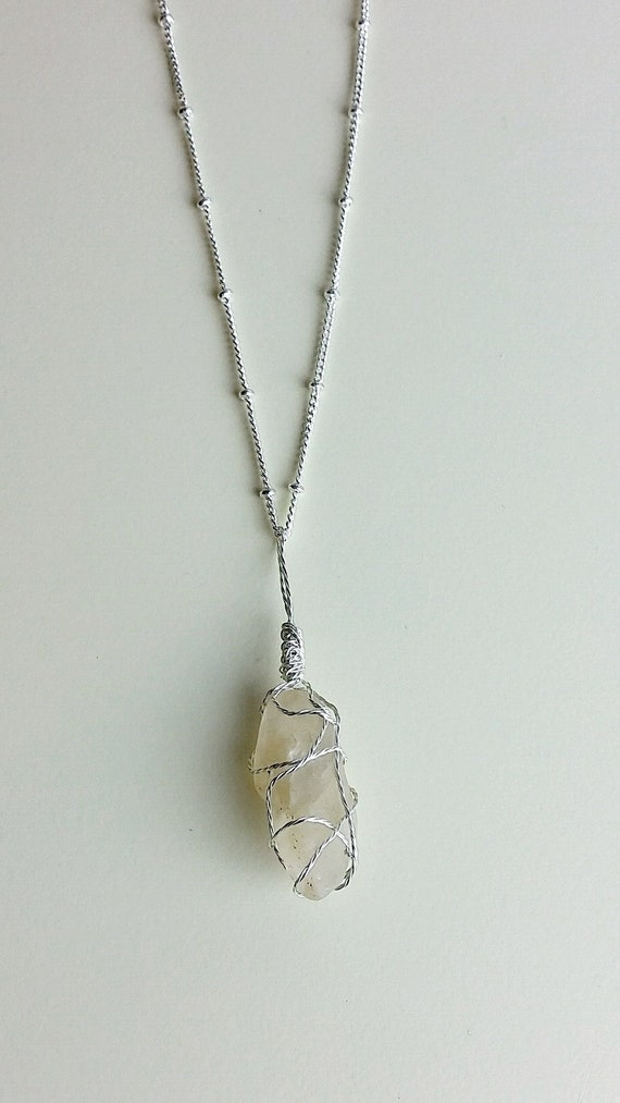 River rock pendant clear quartz necklace crystal necklace aloadofball Gallery