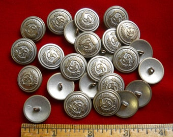 25 Silver Tone Metal Shank Buttons with Heraldry Crest Shield for Renaisance Costume