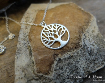 Silver tree necklace, tree of life, 925 sterling silver, woodland jewelry, tree pendant.
