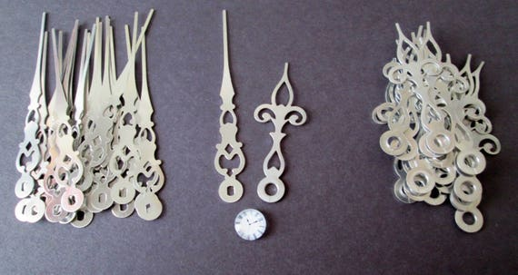 """20 Pairs of Shiny New Fancy Chrome Clock Hands - Make Clocks, Jewelry, Steampunk Art and Etc...  3 1/2"""" and 2 1/2"""""""