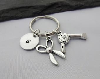 Hairdresser Keyring, Initial Keyring, Hand Stamped, Hairdresser Gifts, Hair Dresser Gifts, Personalised, Hairdressing Keyring, Keychain