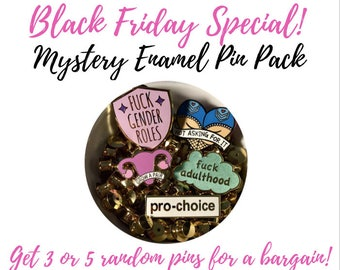 Black Friday special / Mystery enamel pin pack! // lapel pins, grab bag, lucky dip 3 or 5 pins