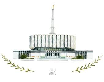 Provo Utah LDS Temple Illustration - Archival Art Print