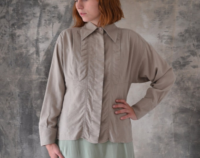 Karl Lagerfeld Grey Wool Button Up Shirt