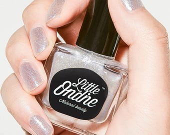 Little Ondine Natural Non-toxic Water-Based Quick Dry Fingernail Lacquer Peel off Nail Polish 10.5ml ( L019-Second Wish)Glitter Silver