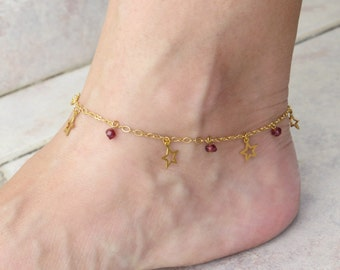Summer SALE - Star anklet, Garnet anklet, January birthstone