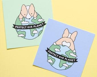 "Protect Our Planet Mini Print Duo, 4x4"", Earth Day, Donate, Corgi Print, Dog Print, Drawing, Science, Corgi Butt"