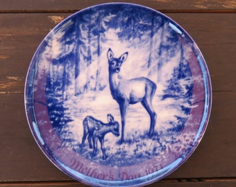 Vintage  Royal Blue Winter China  Mother's Day Plate 1971