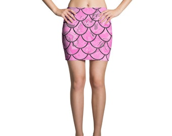 Pink Fish Scale Mini Skirt