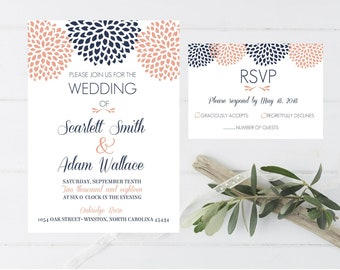 Wedding Invitation Navy Blue Coral Pink Floral Simple Outdoor Beach Rustic Wedding Invitation Response Card RSVP#5016
