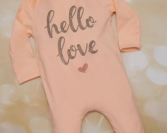 Hello Love Peach Infant Layette Cotton Baby Romper with Large Chiffon Headband