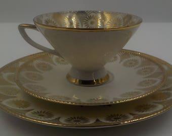 Vintage Wusterling Bavaria Porcelain Tea Cup Set - Tea Cup-Saucer-Luncheon Plate - Gold Gilding - Pink Rose Buds