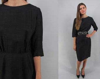 Vintage 60s Dress, Sheath Dress, 60s Silk Dress, Retro Bombshell Dress, LBD, Little Black Dress Δ size: md