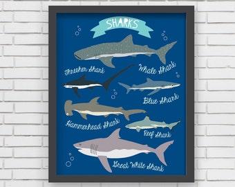 Nautical Home Decor Nautical Nursery Wall Art - Sharks Art Print - 8x10 or 11x14