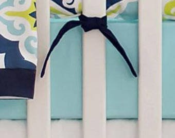 Lime Green & Navy Starburst in Kiwi Crib Baby Bedding | Crib Sheet