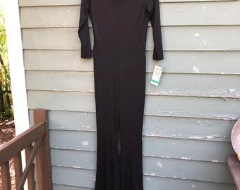 Vintage Jumpsuit 80's sleek black Polyester Breakin' Loose USA size 7/8 NEW