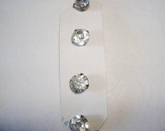 4 Small vintage Clear Rhinestone Buttons • shank back • New on Card