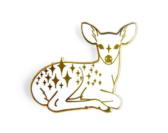 Star Fawn Enamel Lapel Pin in White and Gold