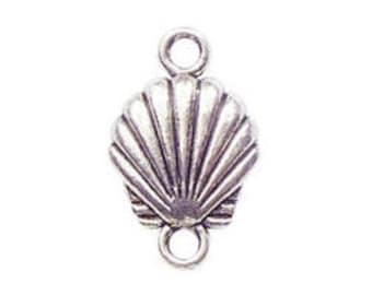 5 Sea Shell Charm Silver Bracelet Connectors 24x15mm by TIJC SP0239