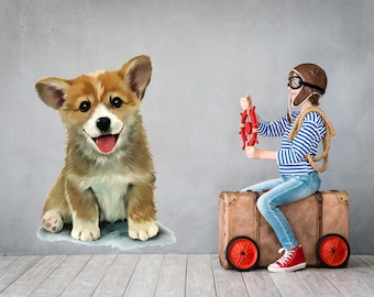Removable Vinyl Wall Decal for Kids Room & Nursery Kids Wall Art Peel and Stick Corgi Puppy Watercolor Painting